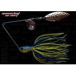 Spinnerbait cu skirt siliconic si doua palete (Colorado 2 + Salcie 2) 14gr Blue - Chartreuse